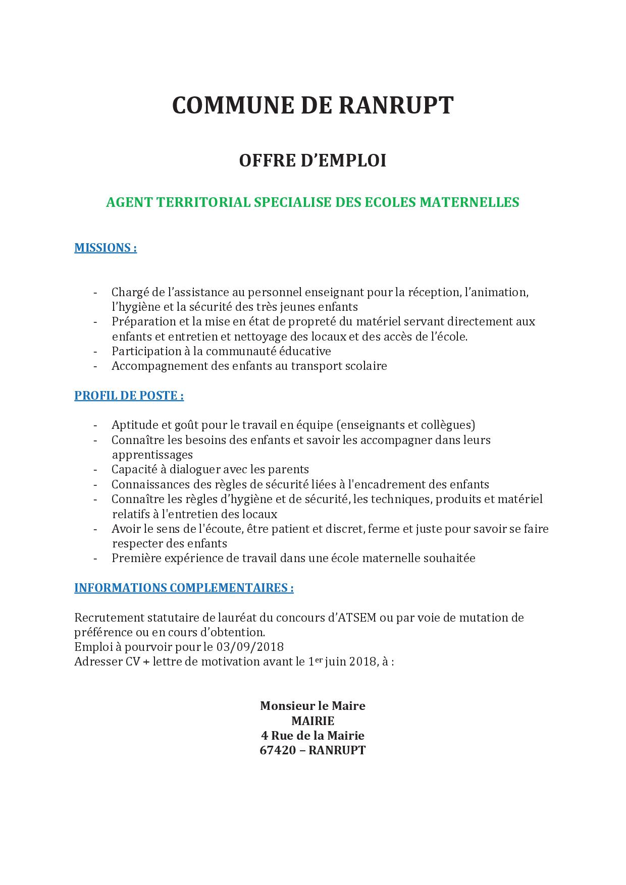 Offres D Emploi La Gazette Climontaine