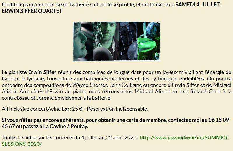 ERWIN SIFFER QUARTET @ La Cavine à Poutay | Plaine | Grand Est | France